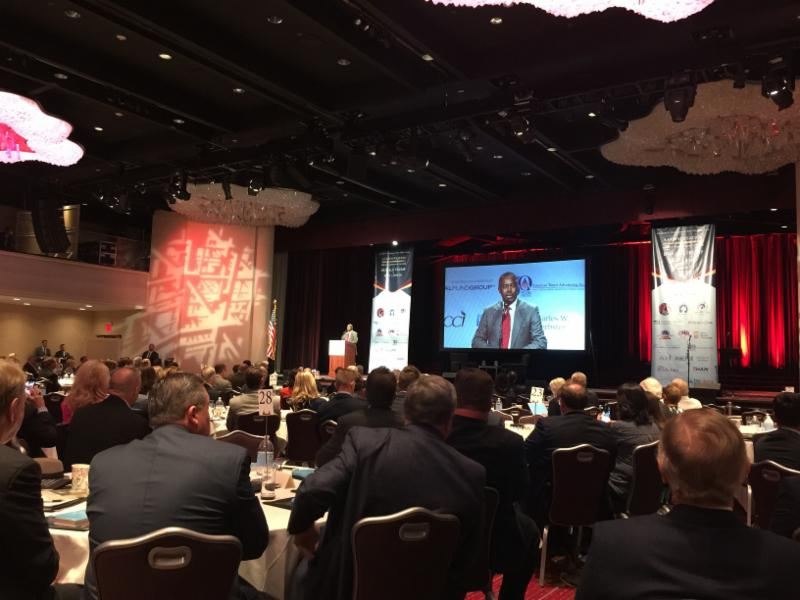 picture of the presentation with Ben Carson showing on the monitor