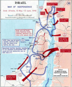 map of Israel showing the War of Independence
