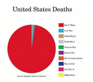 Pie chart depicting the deaths by abortion compared to many wars