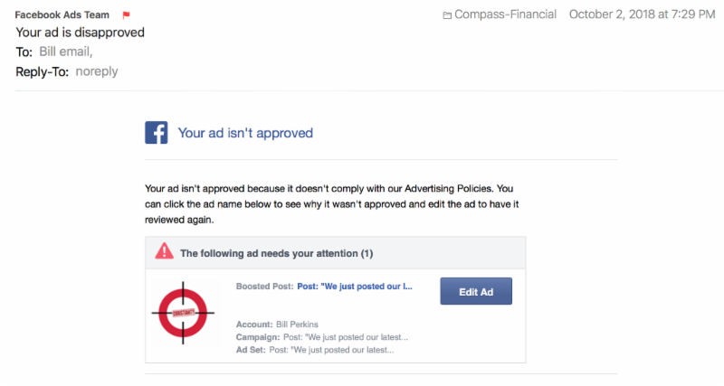 FB Your ad is not approved